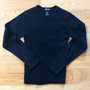 Classic black ribbed knit stretch sweater
